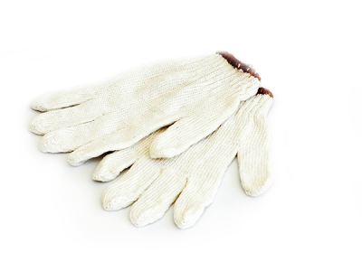 ถุงมือผ้าทอสีขาว